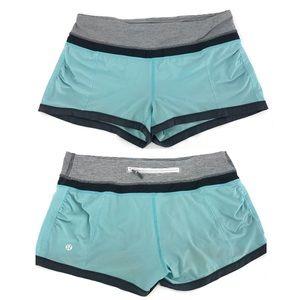 Lululemon Speed Shorts Aquamarine Gray Size 4